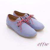 effie 樂活休閒 皮製復古式綁帶休閒鞋 淺紫