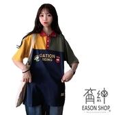 EASON SHOP(GW6403)實拍復古卡通撞色拼接長版OVERSIZE排釦POLO領短袖T恤裙落肩女上衣服內搭棉T