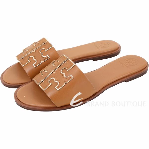 TORY BURCH Ines 雙T金屬色鑲邊牛皮平底拖鞋/涼鞋(棕褐色) 1920733-B3