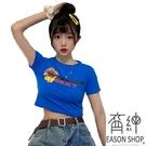 EASON SHOP(GW6378)韓版撞色字母花朵雛菊印花短版露肚臍圓領短袖T恤女上衣服修身顯瘦彈力貼身內搭衫