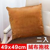 【凱蕾絲帝】特級可水洗棉-實木椅沙發專用49cm絨布方形抱枕-咖啡二入
