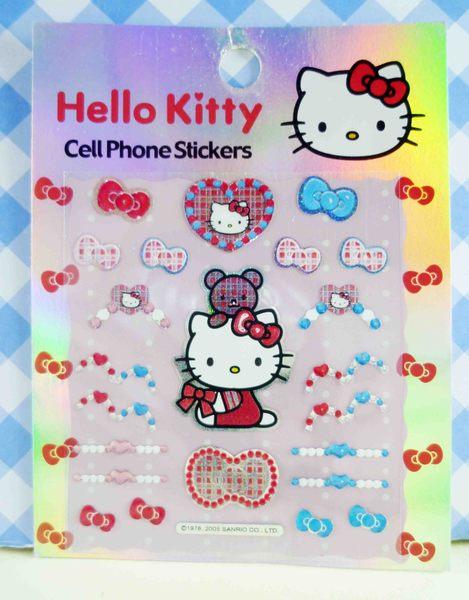 【震撼精品百貨】Hello Kitty 凱蒂貓~KITTY小貼紙-側坐熊