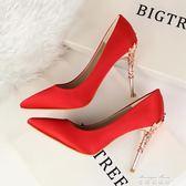 韓版春夏季新款女鞋10Cm高跟鞋細跟百搭性感尖頭單鞋紅色婚鞋  麥琪精品屋