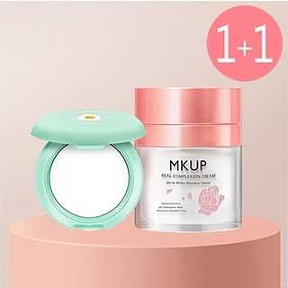 【一袋X王推薦】MKUP 美咖 賴床美白素顏霜+極致吸油粉餅(02期效2021/03)