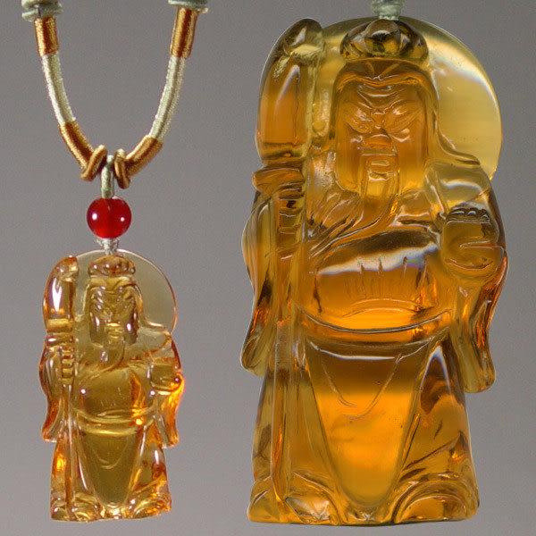 鹿港窯~開運古法水晶琉璃雕項鍊~關老爺◆ 附精美包裝◆免運費送到家