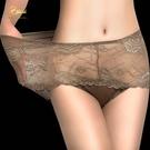 蕾絲內褲內褲女性感透明蕾絲高腰大尺碼胖M...