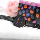 FOSSIL / LE1095 / 限量版 Jacqueline 迷人色彩嘴唇圖紋 日期 真皮手錶 黑色 36mm