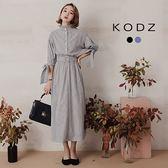 東京著衣【KODZ】小立領荷葉韓風ONI蝴蝶結造型復古洋裝-S.M.L(181524)