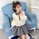 女童套裝2020新款秋冬裝兒童超洋氣長袖網紅針織毛衣短裙兩件套潮 小艾新品