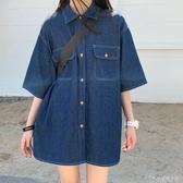 牛仔襯衫女復古港味短袖襯衣夏季新款寬鬆bf慵懶風上衣外套潮 安妮塔小鋪