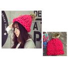 #毛帽#可愛#毛球 粗毛線 反折 針織帽【QI1688】  icoca