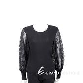 EDWARD ACHOUR PARIS 蕾絲紗袖黑色坑條針織衫 1920274-01