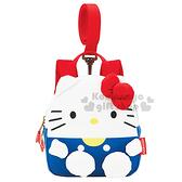 〔小禮堂〕Hello Kitty 兒童防走失背包《S.白藍.Q版.吊帶褲》可調式肩帶 4973307-39048
