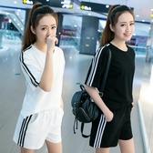 夏季女短袖套裝運動短褲休閒兩件套顯瘦日韓學生寬鬆跑步夏天女裝【快速出貨】