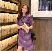 清倉$388 韓國學院風復古格紋紐扣襯衫不規則短袖洋裝