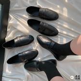 一腳蹬樂福鞋小皮鞋女復古軟皮單鞋 黑色【君來佳選】