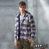 【JEEP】百搭格紋刷毛襯衫式長袖外套(紅藍)