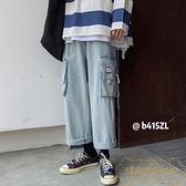 牛仔褲子多口袋工裝男韓版寬松直筒褲闊腿褲【繁星小鎮】