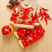 兒童長袖 寶寶唐裝套裝嬰兒棉衣春秋夾棉冬季兒童中國風大紅喜慶春節拜年服