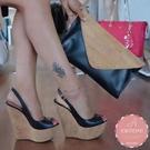 魚口楔型鞋 皮革歐美款帥氣 厚底鞋*KWOOMI-A814
