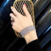 冷淡風時髦歐美滿鑽寬版百搭氣質手鏈女韓版簡約個性潮人手鐲首飾