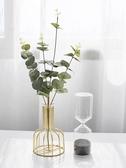 花瓶 北歐ins風金色小清新花瓶干花擺件 客廳餐桌植物花插花桌面裝飾品【快速出貨】