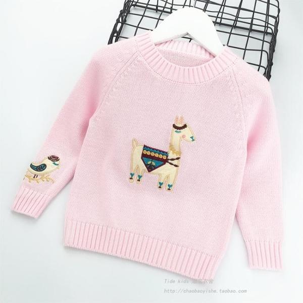 女童毛衣套頭2020春季新款兒童裝圓領刺繡針織打底衫寶寶純棉線衣 小山好物