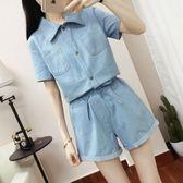 夏季套裝時尚兩件套新款洋氣短褲短袖上衣配牛仔褲學生韓版 QQ1894『MG大尺碼』