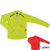 ASICS亞瑟士 背部保暖長袖立領T恤(草綠) 穿指孔設計 2014新款