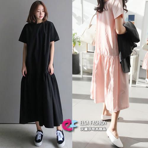 裙子 隨性韓品圓領荷葉裙擺超長款連身裙 艾爾莎 【TGK4939】