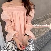 喇叭袖上衣 一字領露肩上衣女粉色泡泡袖甜美早秋2021新款寬鬆韓版長袖襯衫潮  卡洛琳