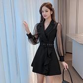 2021年春季新款氣質小個子西裝領長袖網紗收腰顯瘦連身裙小黑裙女 童趣屋