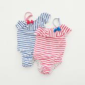 兒童泳衣女孩韓國連體條紋游泳衣