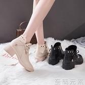 網紅瘦瘦靴子女秋年新款冬季短筒百搭粗跟馬丁靴女英倫風增高