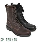 T9-10075 男款全真皮短筒靴 率性簡約線條感綁帶側拉鍊全真皮短筒男靴【GREEN PHOENIX】