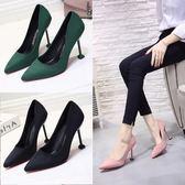 黑色女鞋絨面尖頭 細跟中跟高跟鞋 新款磨砂工作鞋貓跟單鞋女【快速出貨】
