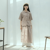 Queen Shop【01085547】清新棉麻小格紋排釦套裝 兩色售*現+預*