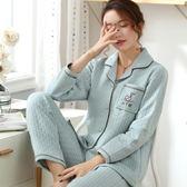 秋冬季睡衣女空氣棉夾層加厚純棉長袖保暖中老年薄夾棉家居服套裝