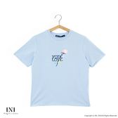 【INI】刺繡甜美、精緻舒適休閒上衣.水藍色