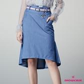 【SHOWCASE】氣質高腰包臀魚尾襬剪接膝上牛仔裙
