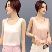 夏季韓版圓領寬鬆小吊帶背心女內搭夏外穿打底t恤雪紡衫無袖上衣 QQ3668『MG大尺碼』
