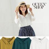 Queen Shop【01023364】素面寬領側開衩襯衫 三色售*現+預*