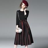 洋裝-七分袖圓領拼接條紋假兩件女連身裙2色73of144【巴黎精品】