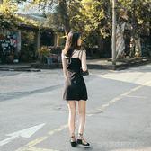 2018夏季新品女裝黑色顯瘦性感抹胸一字肩吊帶連身裙小禮服短裙子  Cocoa