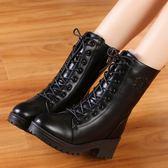 中筒鞋 冬天新款馬丁靴女中跟休閒皮鞋加絨女鞋韓版棉靴百搭中筒靴皮靴子  萌萌