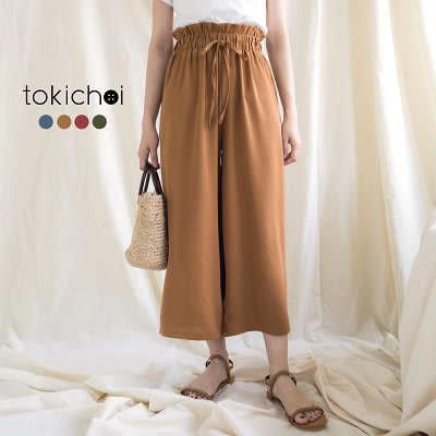 東京著衣-多色清新甜美荷葉鬆緊綁繩長褲-S.M(180867)