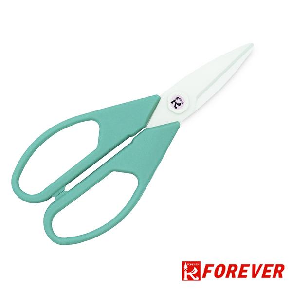 【FOREVER】日本製造鋒愛華銀抗菌陶瓷剪刀_白刃綠柄