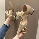 尖頭單鞋女春季新款蝴蝶結