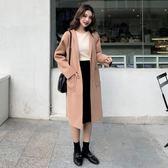 毛呢外套女大衣女秋冬裝新款韓版白色中長款mandyc衣間