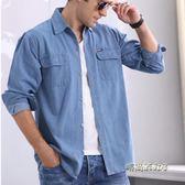 春夏季中年男純棉士牛仔襯衫寬鬆加肥加大碼長短袖薄款外套工作服「時尚彩虹屋」